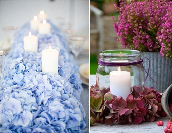 Centros de mesa con hortensias para decoración vintage shabby