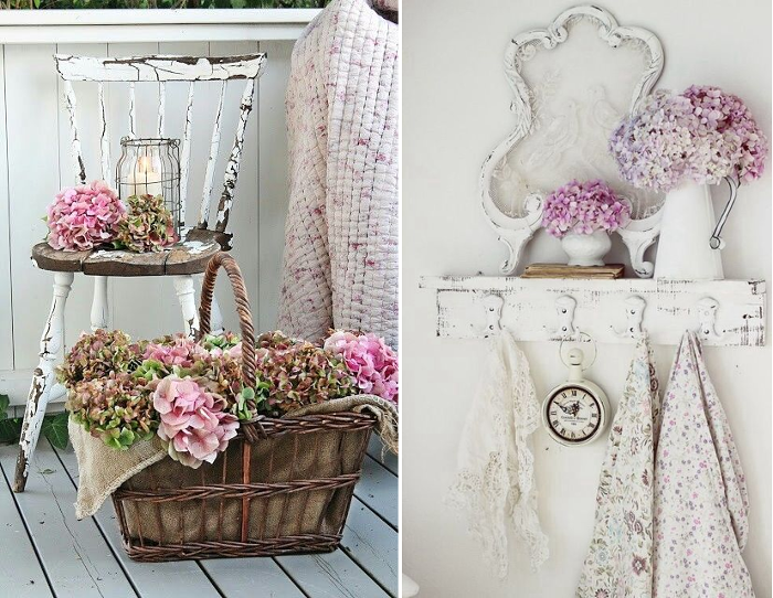 Decoracion shabby chic hortensias