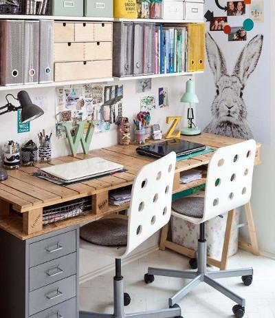 Escritorios con palets c mo hacer un escritorio con for Diseno de mesa de computadora