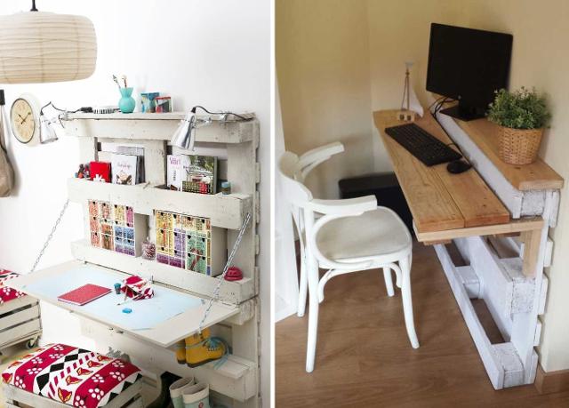 Escritorios con palets c mo hacer un escritorio con - Escritorio para espacios pequenos ...
