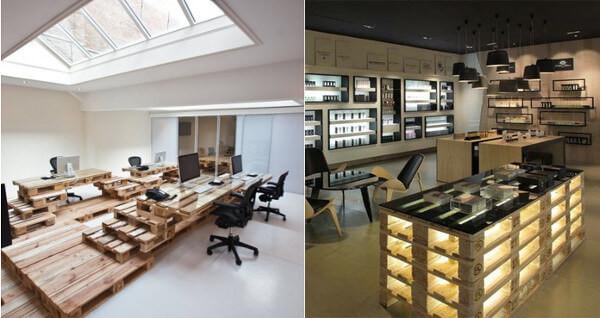 Muebles de oficina hechos con palets