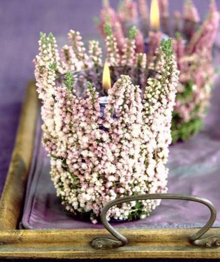 Manualidades faciles portavelas con vasos y flores