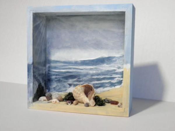 Diorama de caja con recuerdos de las vacaciones en la playa