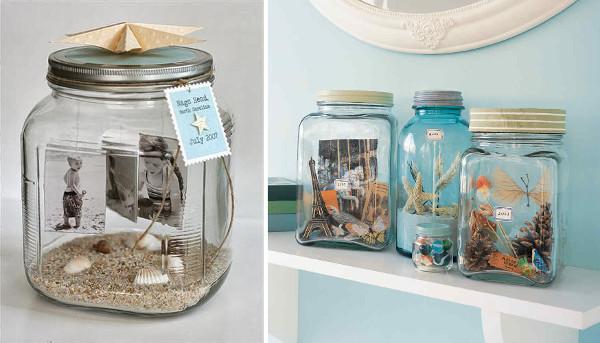 Dioramas en frascos con recuerdos de playa
