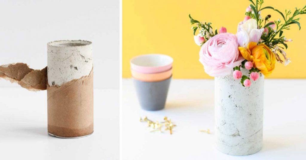Florero de tubo de carton y cemento
