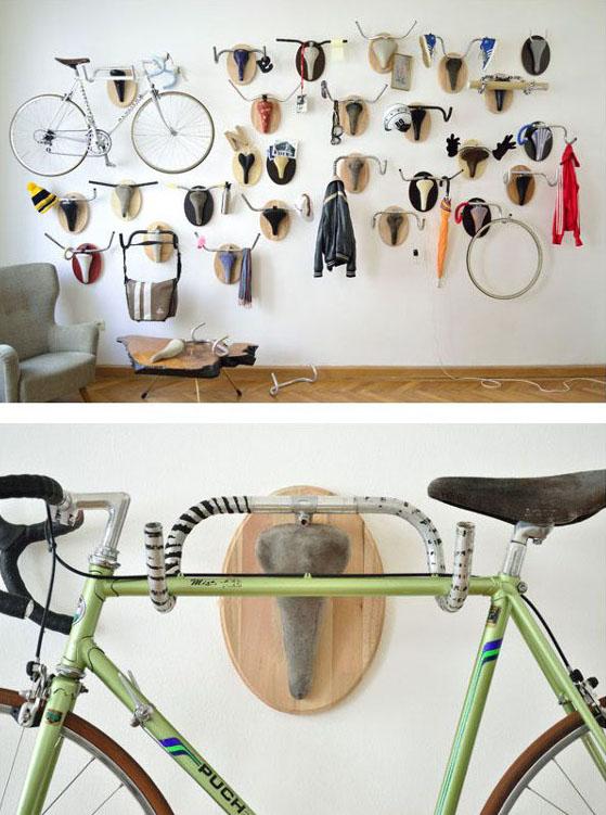 Idea para colgar bicicletas con reciclaje de manubrio y sillin