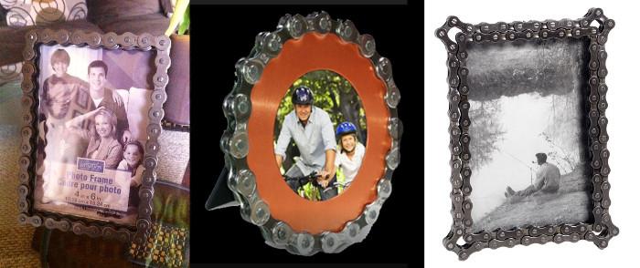 Portarretratos con reciclaje de bicicletas