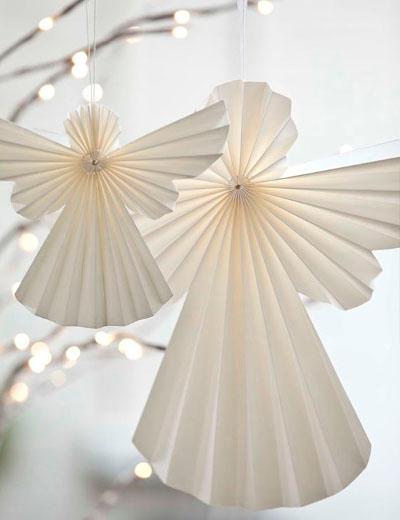 Angeles de papel origami para el arbol de navidad