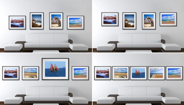 Colgar cuadros alineados en la pared