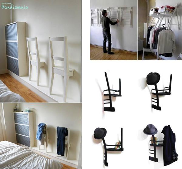 Originales percheros hechos con sillas recicladas