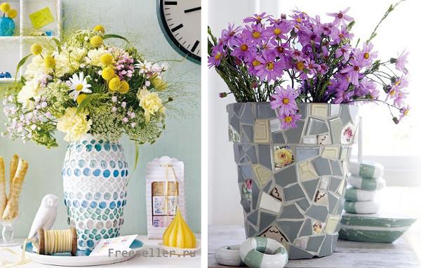 Floreos con la técnica de mosaico