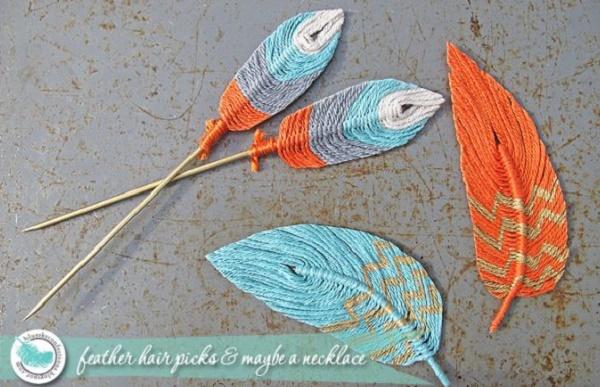 Plumas decorativas de restos de lana