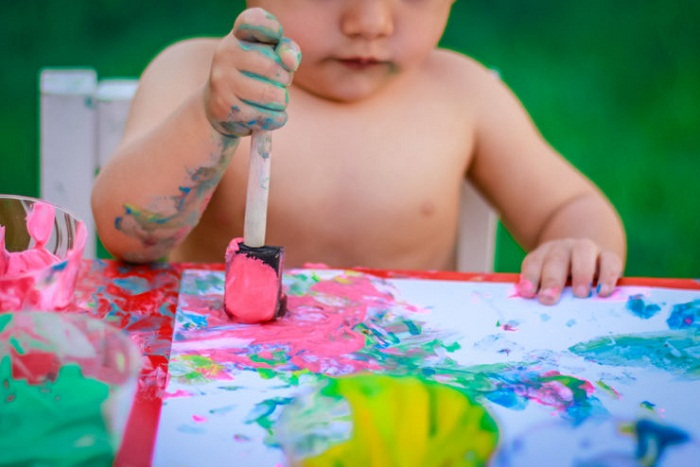 Pintura de yogur para bebes
