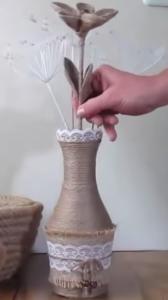 florero decorado con cuerda